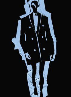 Fashion Illustration-Blue tape on blackboard/Carlos Aponte {2014 )