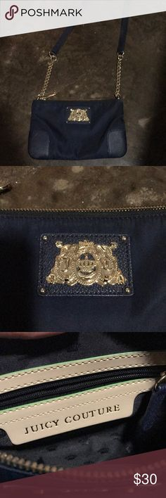 Juicy Couture Crossbody In great condition and well taken care of. It's navy blue with gold hardware. It's a super cute bag, it's just been sitting in my closet a long time so it's time to part with it. Juicy Couture Bags Crossbody Bags