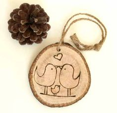 Baby's First Christmas - Rustic Tree Ring Burned with two love birds and baby