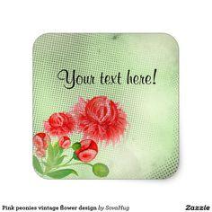 Pink peonies vintage flower design square sticker
