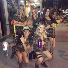 Check out best Group Halloween costumes idea that'll make your girl squad shine like never before. Flaunt your friendship with these Group Halloween Outfits Biker Girl Halloween Costume, Powerpuff Girls Halloween Costume, Girl Group Halloween Costumes, Halloween Kostüm, Halloween Outfits, Cute Girl Costumes, Army Girl Costumes, Trio Costumes, Army Costume