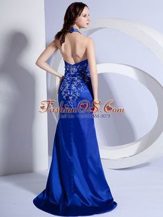 Mermaid Halter Embroidery Royal Blue Taffeta Brush / Sweep Prom Dress  http://www.fashionos.com   | floor length prom dress | sleeveless prom dress | zipper up prom dress | prom dress under 150 | mermaid prom dress | new arrival prom dress | red carpet prom dress | winter prom collection | prom dress with embroidery |  A sheath is a slim dress that hugs curves and outlines the silhouette of your body.
