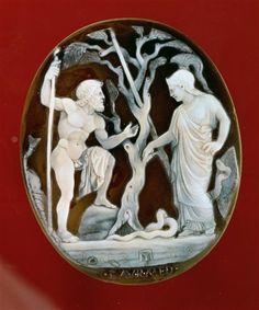 Camée : Athéna et Poséidon en compétition pour la domination d'Athènes. Empire Romain, 1er siecle.