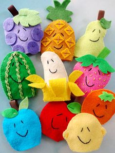 "Sewing - Fruit Finger Puppets - #RES0330/ beginner/ approx. 2.5"" x 3.75"" / SEWING pattern"