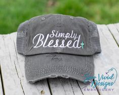 bee5c59e Simply Blessed Custom Embroidered Distressed Baseball Ponytail or Trucker  Hat, Blessed