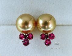 HS #Golden South Sea Cultured #Pearl 10mm & #Ruby .84ctw 14KWG #Stud #Earrings Top #Jewelry #Mothers #Anniversary