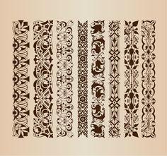 Пограничная шаблоны элементов декора, векторное изображение - 365PSD.com