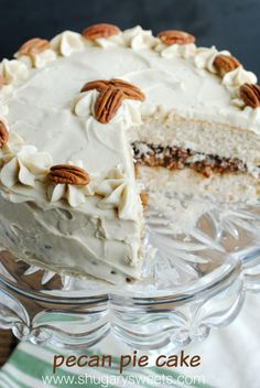Pecan Pie Cake: double layer spice cake, from scratch, with a pecan pie filling and brown sugar frosting! This is a must have dessert!!! #thinkfisher