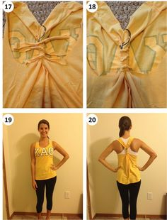 DIY This is what i'm going to do with all my old t-shirts after they get to big for me :) Great workout shirt! Tshirt to Tank No Sew DIY Old T Shirts, Cut Shirts, Upcycled Shirts, Baggy Shirts, Diy Camisa, Do It Yourself Fashion, T Shirt Diy, Diy Tshirt Ideas, Sew Tshirt