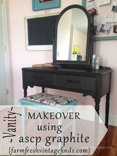 Vanity Refinished with Annie Sloan Chalk Paint in Graphite - Farm Fresh Vintage Finds