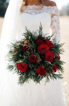 Beautiful for a Christmas wedding - Winter Christmas Wedding Bouquets, Winter Wedding Flowers, Spring Wedding, Winter Weddings, Christmas Wedding Decorations, Red Rose Wedding Bouquet, Winter Wedding Ideas, Autumn Wedding, Winter Wedding Dresses