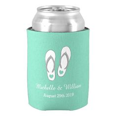 Cute Mint Green Heart Beach Slippers Pattern of Neoprene Can Cooler Custom Name and Dates for Couples Wedding Favors Beer Holder