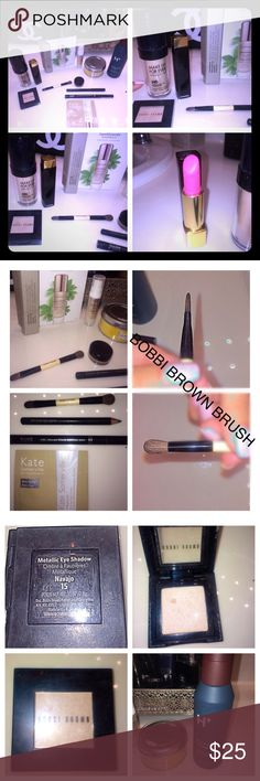 10 bundle •YSL•MAKE UP FOREVER•BOBBI BROWN•CHANEL 10 beauty items:make up forever HD foundation N125 used up to my finger pointed/says HD•BOBBI BROWN TRAVEL size professional 2 brushes NEW•BOBBI BROWN EYESHADOW metallic•NAVAJO 15 used 2xlike new•CHANEL LIPSTICK PINK LATEST COLOR rouge allure 42•used 2x new with the logo•cleaned•YVES SAINT LAURENT EYE PENCIL#12 long lasting TURQUOISE used 3x•BARE MINERALS vital power infusion 0.25fl NEW•H AFTER Shave lotion NEW 4Fl 120ml• BLACK EYELINER fast…