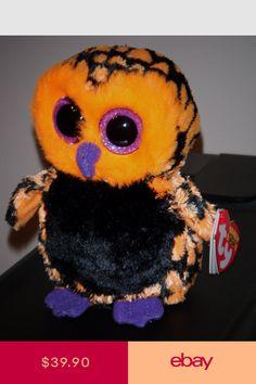 Ty Beanie Boo Boos Haunt The Halloween Owl Orange Black 2013 Glitter Eyes for sale online Ty Beanie Boos, Ty Boos, Big Eyed Stuffed Animals, Ty Animals, Plush Animals, Ty Peluche, Rare Beanie Babies, Ty Babies, Cute Beanies