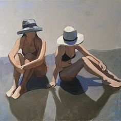 Sun Day by Dana Cooper, 40 x 40 x 1 Painting People, Figure Painting, Figure Drawing, Painting & Drawing, Lake Art, Summer Painting, Guache, Arte Pop, Life Drawing
