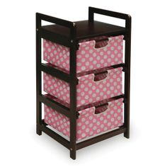 Pink and Espresso 3 Drawer Storage Unit | FREE SHIPPING