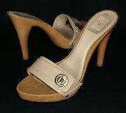 CHRISTIAN DIOR Beige Patent Leather Slides Wooden Heels Sandals Shoes Size 37