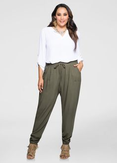 Solid Ruched Leg Pant-Plus Size Pants-Ashley Stewart Classy Outfits, Trendy Outfits, Fashion Outfits, Womens Fashion, Fashion Trends, Boho Fashion, Plus Size Joggers, Plus Size Pants, Fashionable Plus Size Clothing