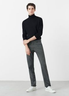 Pull-over laine col roulé - Homme Human Poses Reference, Pose Reference Photo, Turtleneck Outfit, Black Turtleneck, Poses Modelo, Turtle Neck Men, Poses References, Standing Poses, Stylish Mens Outfits