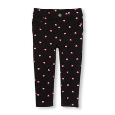 ae3d2d081a6dc Baby Girls Toddler Heart Print Knit Jeggings - Black - The Children's Place  Baby Girl Bottoms