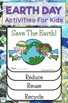 Earth Day activities for kids that are perfect for the first grade elementary classroom. Projects include recycling games and printable writing templates. #earthday #recyclingactivites #earthdayforkids