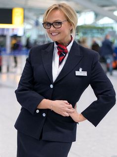 Spice Girl Emma Bunton slipped into a British Airways uniform at London's Heathrow Airport and pranked a slew of unknowing passengers. British Airways Cabin Crew, Airline Uniforms, Emma Bunton, Baby Spice, Natural Blondes, Red Nose, Spice Girls, Sexy Stockings, Flight Attendant