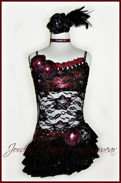 Spanish Deep Red & Black Costume with Lace and Floral Accent's.