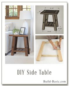 Build a DIY Side Table - Building Plans by @BuildBasic www.build-basic.com #buildwoodtable