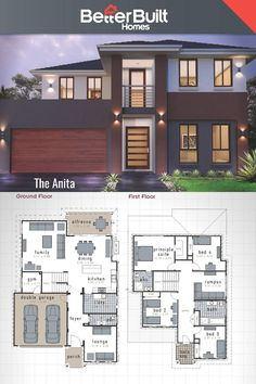 The Anita: Double Storey House Design.m – x The Anita designer home adds a new level of free- flowing lifestyle, clever ideas and has plenty of space to spread out and relax. It boasts 4 large bedrooms, gym, family, lounge and rumpus Dream House Plans, Modern House Plans, Small House Plans, Modern House Design, House Floor Plans, 2 Storey House Design, Double Storey House Plans, Double Story House, Home Gym Flooring