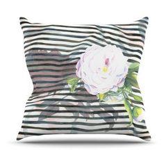 Kess InHouse S. Seema Z Peony And White Black Indoor/Outdoor Throw Pillow - SZ2002AOP05