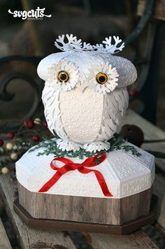 Winter Snow Owl Keepsake Box Pinned by www.myowlbarn.com