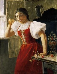 """""""Fille en rouge avec des fleurs"""", huile sur toile de Jozsef Rippl Ronai (1861-1927, Hungary)"""