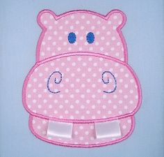 Adorable!  Hippo With Ribbon Teeth Applique - 2 Sizes!  SWAKembroidery.com