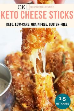These Keto Cheese Sticks only take 20 minutes to make and are the perfect appetizer! They are crispy on the outside with melty cheese on the inside. These cheese sticks are keto, low-carb, grain-free, and gluten-free! Ketogenic Recipes, Low Carb Recipes, Ketogenic Diet, Banting Recipes, Comida Keto, Keto Snacks, Diabetic Snacks, Keto Foods, Healthy Appetizers