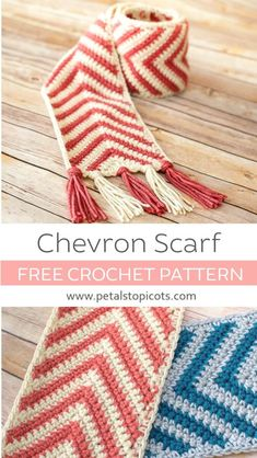 Chevron Crochet Scarf Pattern - Danielle B. - Chevron Crochet Scarf Pattern This chevron crochet scarf pattern is perfect for everyone on your list . a perfect unisex scarf pattern that is also great for all ages! Chevrons Au Crochet, Chevron Crochet Patterns, Knitting Patterns, Knitting Tutorials, Free Knitting, Knitting Beginners, Vogue Knitting, Finger Knitting, Knitting Machine
