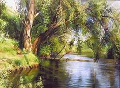 "Roman Romanov, ""By the lake"" 2001 Watercolor Landscape, Landscape Art, Landscape Paintings, Tsar Nicolas, Tree Art, Beautiful Landscapes, Painting Inspiration, Beautiful Places, Scenery"