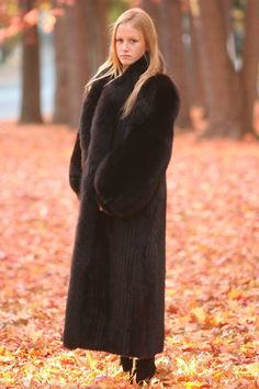 Long mink & fox fur coat
