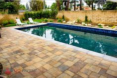 Add a pop of color and flair to your pool with #Belgard Catalina Slate pool deck pavers in colors Bella & Victorian.
