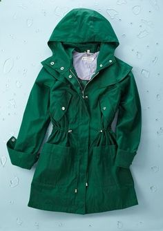 Emerald green rain jacket // Steve Madden.. I think im in love