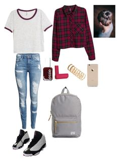"""Untitled #170"" by crazyperson456 ❤ liked on Polyvore featuring H&M, Essie, Eos, Forever 21, NIKE and Herschel Supply Co."