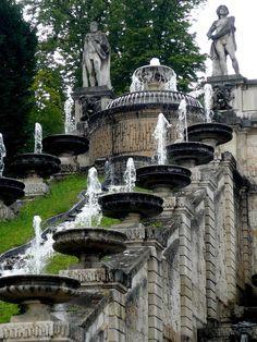 Saint-Cloud Park, Paris (France) - gardens were built along a steep escarpment on the famous estate, and this baroque cascade descends down a slope overlooking the Seine