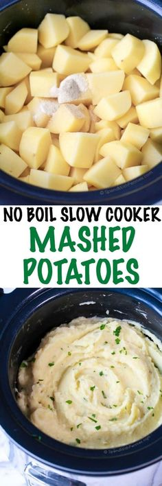 No Boil Slow Cooker Mashed Potatoes. Velvety rich mashed potatoes cooked in the slow cooker. This easy dish requires no boiling just simply chop & season and let the slow cooker do the rest! The result is smooth and flavorful potatoes which are the perfe Crock Pot Slow Cooker, Crock Pot Cooking, Slow Cooker Recipes, Cooking Recipes, Healthy Recipes, Crock Pots, Delicious Recipes, Crockpot Meals, Skillet Recipes