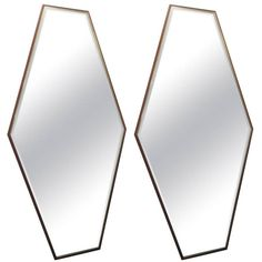 Pair of Walnut and Brass Mirrors by Directional | From a unique collection of antique and modern wall mirrors at https://www.1stdibs.com/furniture/mirrors/wall-mirrors/