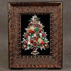 Vintage Rhinestone Jewelry CHRISTMAS TREE Pin Framed ART Glass Bead Red Green on eBay