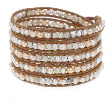 Champagne Pearl Mix Wrap Bracelet on Henna Leather