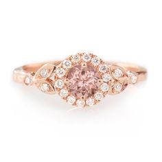 Morganite Engagement Ring Rome Crown Diamond by SillyShinyDiamonds
