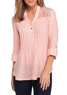New Directions® Solid Lace Yoke Henley Blouse