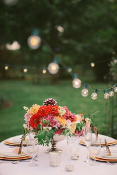 """Hang bistro lights to set the tone at your garden party. For 12"""" bulb spacing, like what shown in the picture, get C7 Globe Light Sets (http://www.partylights.com/String-Lights-Sets/C7-Globe-Light-Sets) or for longer lengths, buy C7 strings and bulbs separately (http://www.partylights.com/Strings-Bulbs/C7Strings)."""