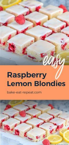 Make these easy lemon raspberry blondies for the perfect dessert! Fast and easy to make, these chewy raspberry lemon blondies are just the right mix of tart and sweet – and will disappear way too quickly! Mini Desserts, Desserts For A Crowd, Lemon Desserts, Summer Desserts, Just Desserts, Chocolate Desserts, Fast And Easy Desserts, Fast Dessert Recipes, Raspberry Recipes