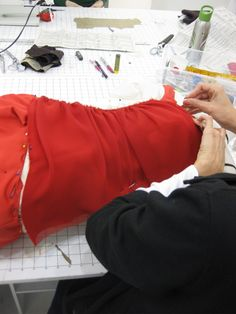 red ruching Sewing Class, Sewing Studio, Short Essay, Dress Stand, Class Projects, Leather Jacket, Tips, Red, Jackets